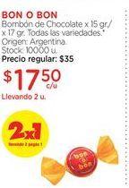 Oferta de BON O BONBombón de Chocolate x 15 gr./x 17 gr. por $17,5