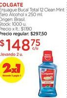 Oferta de COLGATEEnjuague Bucal Total 12 Clean Mint Zero Alcohol x 250 ml. por $148,75