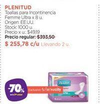 Oferta de PLENITUDToallas para Incontinencia Femme Ultra x 8 u. por $255,78