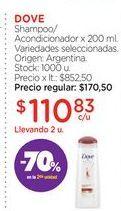 Oferta de DOVEShampoo/Acondicionador x 200 ml. por $110,83