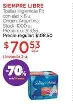 Oferta de SIEMPRE LIBREToallas Higienicas Fit con alas x 8 u. por $70,53