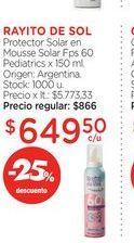 Oferta de RAYITO DE SOLProtector Solar en Mousse Solar Fps 60 Pediatrics x 150 ml. por $649,5