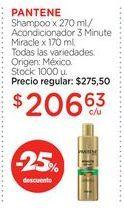 Oferta de PANTENEShampoo x 270 ml./Acondicionador 3 Minute Miracle x 170 ml. por $206,63