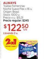 Oferta de ALWAYSToallas Femeninas Noche Suave Flex x 16 u. por $122,5