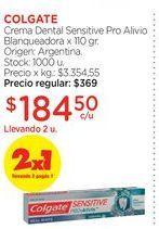 Oferta de COLGATECrema Dental Sensitive Pro Alivio Blanqueadora x 110 gr. por $184,5