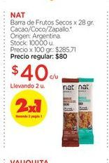 Oferta de NATBarra de Frutos Secos x 28 gr. por $40