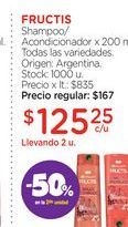 Oferta de FRUCTISShampoo/Acondicionador x 200 ml. por $125,25