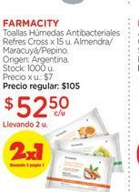 Oferta de FARMACITYToallas Húmedas Antibacteriales Refres Cross x 15 u. por $52,5