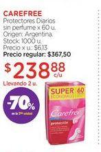 Oferta de CAREFREEProtectores Diarios sin perfume x 60 u. por $238,88