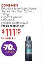 Oferta de DOVE MEN Desodorante Antitranspirante Aerosol Men Clean Comfort  x 89 gr. por $111,15