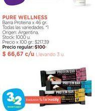 Oferta de PURE WELLNESSBarra Proteina x 46 gr. por $66,67