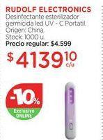 Oferta de RUDOLF ELECTRONICSDesinfectante esterilizador germicida led UV - C Portatil. por $4139,1