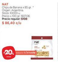 Oferta de NATChips de Banana x 85 gr. por $86,4