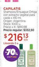 Oferta de CAPILATISShampoo/Enjuague Ortiga con extracto vegetal para caida x 410 ml. por $216,13