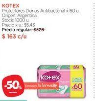 Oferta de KOTEXProtectores Diarios Antibacterial x 60 u. por $163