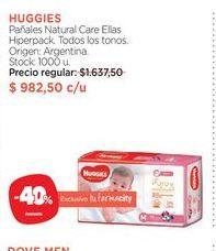 Oferta de HUGGIESPañales Natural Care Ellas Hiperpack. por $982,5
