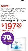 Oferta de DOVEToallitas Desmaquillantes con Agua Micelar x 25 u. por $197,28