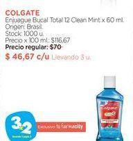 Oferta de COLGATEEnjuague Bucal Total 12 Clean Mint x 60 ml. por $46,67