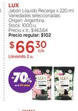 Oferta de LUXJabón Líquido Recarga x 220 ml. por $66,3