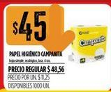 Oferta de Papel higiénico Campanita 4un  por $45