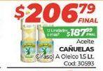 Oferta de Aceite cañuelas girasol a oleico 1.5lt  por $206,79