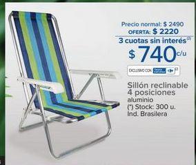 Oferta de Silla reclinable 4 posiciones  por $740