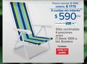 Oferta de Silla reclinable 4 posiciones  por $590