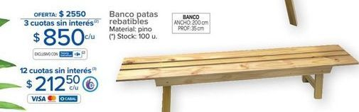 Oferta de Banco de madera por $2550