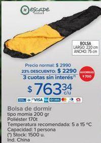 Oferta de Bolsa de dormir Escape por $2290