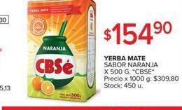 Oferta de Yerba mate Cbse 500g por $154,9