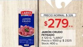 Oferta de Jamón crudo feteado LARIO 120g  por $279