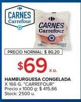 Oferta de Hamburguesa congelada 166g  por $69