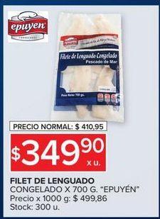 Oferta de Filet de lenguado congelado 700g EPUYEN  por $349,9