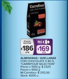 Oferta de Almendras/avellanas con chocolkate x 80g  por $186