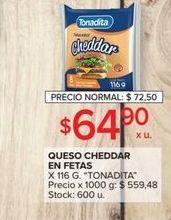 Oferta de Queso cheddar en fetas TONADITA 116g por $64,9