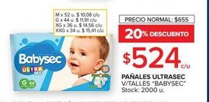 Oferta de Pañales Babysec v/talles  por $524