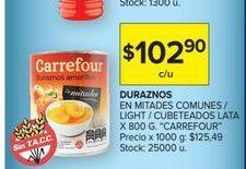 Oferta de Duraznos en mitades comunes/light/cubeteados lata 800g  por $102,9