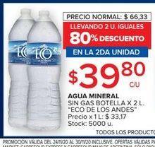 Oferta de Agua mineral Eco de los andes 2l por $39,8