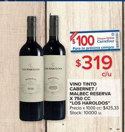 Oferta de Vino tinto cabernet/ malbec reserva x 750cc LOS HAROLDOS  por $319