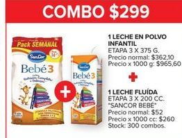 Oferta de Leche en polvo infantil  etapa 3 x 375g + leche fluida SANCOR BEBE  por $299