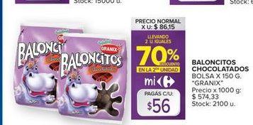 Oferta de Baloncitos chocolatados  por $56