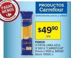 Oferta de Fideos v/tipos linea azul x 500g CARREFOUR  por $49,9