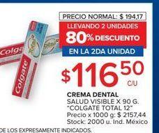 Oferta de Crema dental Colgate total 12 por $116,5