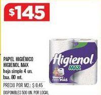 Oferta de Papel higiénico Higienol por $145