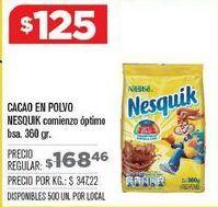 Oferta de Cacao en polvo Nesquik por $125