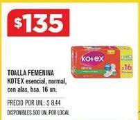 Oferta de Toallas femeninas Kotex por $135
