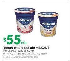 Oferta de Yogurt entero frutado MILKAUT 150gr  por $55