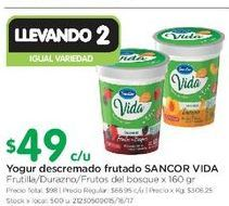 Oferta de Yogur descremado con frutas Sancor vida  por $49