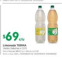 Oferta de Limonada TERMA 1,5lt  por $69