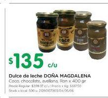 Oferta de Dulce de leche Doña Magdalena 400gr  por $135